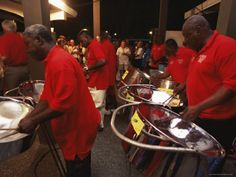Steel Band playing at Sunday School, (street party) Tobago. Be prepared to dance all night