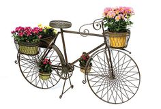 One Kings Lane - In the Garden - Metal Display Bike from One Kings Lane. Saved to My Garden. Beautiful Gardens, Beautiful Flowers, Wicker Storage Trunk, Mosaic Vase, Wicker Planter, Upcycled Home Decor, Old Tires, Dream Garden, Yard Art