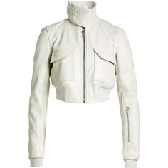 Rick Owens Cropped Leather Bomber (2 170 AUD) ❤ liked on Polyvore featuring outerwear, jackets, beige, cream bomber jacket, genuine leather bomber jacket, cream leather jacket, beige leather jacket and collared leather jacket