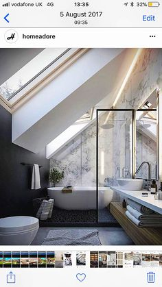 Small Bathroom Renovations 151433606209311507 - Source by eoualidi Sloped Ceiling Bathroom, Small Attic Bathroom, Loft Bathroom, Bathroom Design Small, Bedroom Loft, Simple Bathroom, Bathroom Interior Design, Loft Ensuite, Bathroom Lighting
