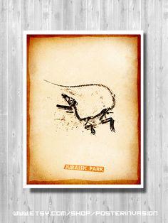Jurassic World Fossil Poster, Jurassic Park, Jurassic Print, Minimalist Fossil, Movie poster, Barbasol, Dinosaur, Mosquito, Art print, Decor by PosterInvasion on Etsy