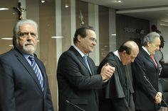 Presidente do Senado, Renan Calheiros (PMDB-AL), participa da cerimônia de posse do Consultor Legislativo Bruno Dantas no cargo de ministro do Tribunal de Contas da União. Foto: Geraldo Magela