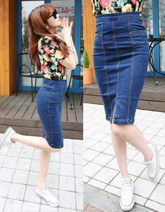 multi-panel seam detail blue denim fitted skirt  CODE: MGN284  Price: SG $71.25 (US $57.46)