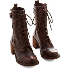 ModCloth Steampunk Wildlife Biologist Boot ($39) ❤ liked on Polyvore featuring shoes, boots, steampunk, boot - bootie, brown, heeled boot, high boots, steampunk boots, brown high boots and tall leather boots