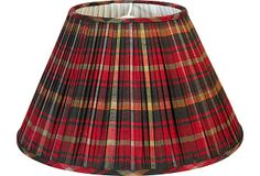 One Kings Lane - Sherrill Canet - Custom Red Plaid Lampshades