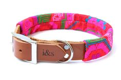 Leather Dog Collar with Embroidered Textile Sleeve by ikeandstella, $70.00