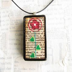 """""""Cheerful Bloom on Vintage Text"""" Altered Domino Jewelry Amber Jewelry, I Love Jewelry, Resin Jewelry, Jewelry Art, Jewelry Ideas, Fashion Jewelry, Jewelry Making, Scrabble Tile Jewelry, Scrabble Art"""