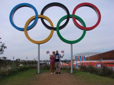 Saturday 11th August. Olympic Park. pjeuk & Wife at the Olympic rings