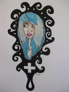 Vivid Vivka, a Suicide Girl.  Colored pencil and liquid acrylic on paper