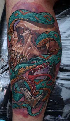 Color Snake and Skull Tattoo. Dmitriy Samohin