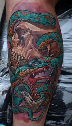 Color Snake and Skull Tattoo. Dmitriy Samohin