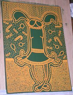 """Title : """"Cébonlébonbons !""""  Medium : Acrylics and Posca pen on Canvas Board  Year : 2007  Size : 240 x 330 mm"""