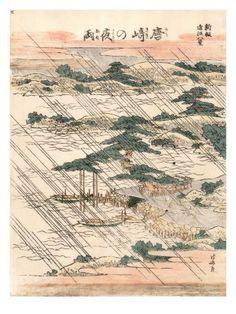Art Print: Night Rain on Karasaki Pine Art Print by Katsushika Hokusai by Katsushika Hokusai : Japanese Artwork, Japanese Painting, Japanese Prints, Art Occidental, Night Rain, Art Chinois, Monet, Ikebana, Katsushika Hokusai