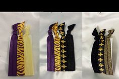 Game day hair ties.  Black and Gold & Purple and Gold