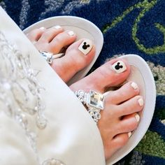 We love this idea of sneaking in a Hidden Mickey on your toes! #Disney #weddingLove it!!