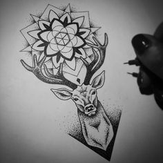 69 Super Ideas For Tattoo Geometric Deer Wolves Deer Head Tattoo, Head Tattoos, Mini Tattoos, Trendy Tattoos, Body Art Tattoos, Tattoos For Guys, Tattoo Dotwork, Mandala Tattoo, Stag Tattoo Design