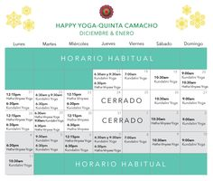 Horario de vacaciones 2015-2016 Happy Yoga, Quinta Camacho