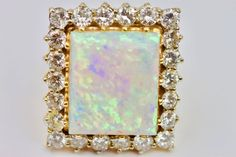 "#Exquisite #18k #Yellow #Gold & ""A"" #10Carat #Cabochon #Opal w/ #Diamonds Size 5.75 #siren #love"