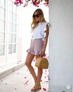 White-Ruffle-Top, Pink-ruffle-shorts, Basket-bag
