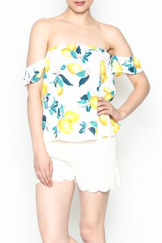 Off the shoulder print top with elastic band along neckline and sleeves. Cabana Lemon Top by Izzy & Lola. Clothing - Tops - Off The Shoulder Louisiana Off Shoulder Blouse, Off The Shoulder, Lemon Top, First Day Of Summer, Lola Clothing, Unique Outfits, Cabana, Louisiana, Boutique