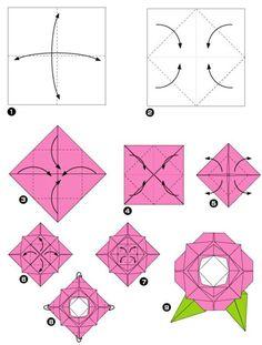origami facile fleur modele de pliage pour une rose