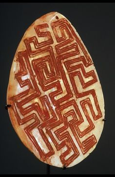 Aboriginal Bark Painting...LongkaLongka  These pearl shell groin covers come from the Kimberleys in Western Australia. They are not extremely rare but really great examples like this one are. It measures 18 cm and dates to the 1930's