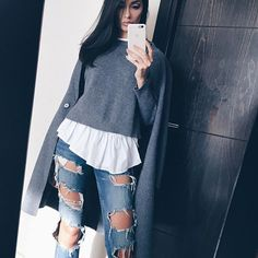Grey  outfit:  All @zara . . .  #ootd #grey #outfit #lookbook #fashion #style #casual #winterfashion #coat #greycoat #zara #jeans #sweater #fashionblogger #styleblogger #model #dubaimodel #persian #iranian #dubai #chill #chic #classy #dubaifashionblogger #instadaily #rippedjeans #lookbook #inspire #fashioninspo  #allzara #dxb