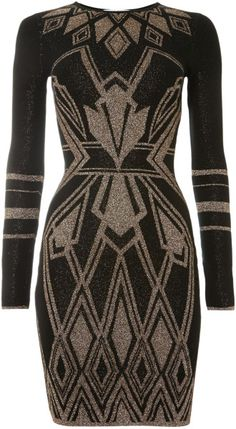 Alice By Temperley Black Long Sleeved Ritz Art Deco Knit Dress
