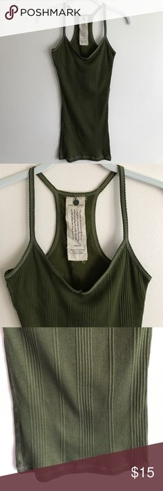 Abercrombie & Fitch green ribbed racerback tank Abercrombie & Fitch dark green ribbed fitted racerback tank w/metallic stitching, built in bra - perfect condition never worn Abercrombie & Fitch Tops Tank Tops