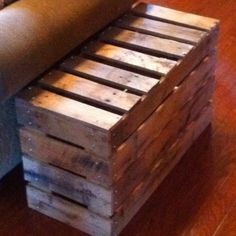 Repurposed wooden pallets to side table.