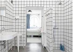 Relooker salle de bain avec carrelage blanc joints noir                                                                                                                                                                                 Plus