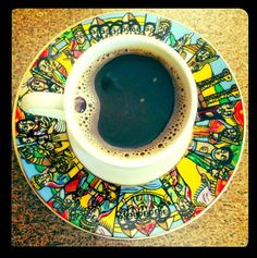 Buna in a traditional cup with saucer- a piece of art!
