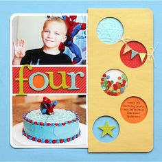 """Cute """"Four"""" Window Punch Design Birthday Page...love the simplicity of this page. Lisa Storms - fiskars."""