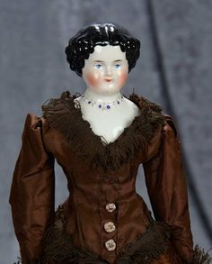 """15"""" German porcelain doll with rare sculpted bead necklace 300/500 