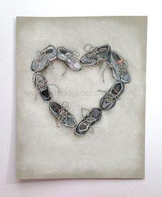 Ejecutar amor  8 x 10 Original arte blanco y por aSteadyPaceStudio