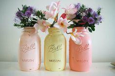 Mason Jars wedding table decorations and centre pieces pastel pink peach yellow/ lemon