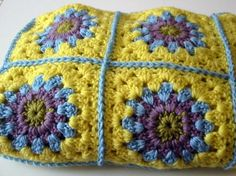 Vintage Style Granny Square Blanket Afghan Crochet