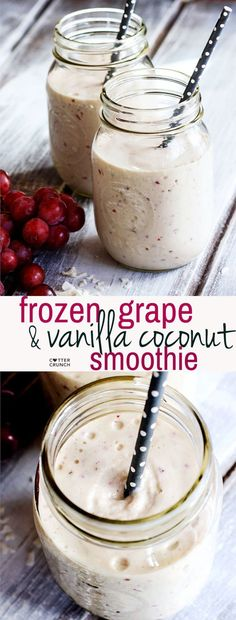 Stay cool and nourished with this dairy free frozen grape and vanilla coconut smoothie! Super creamy, delicious, and packed full of healthy nutrients!! Great for breakfast or post workout too.