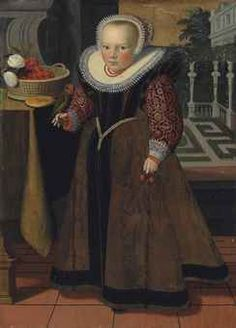 Dutch, 1599. Portrait of a girl, aged 4, full-length, in a brown dress with red brocaded sleeves and a lace ruff and bonnet, holding cherries in her left hand,,,