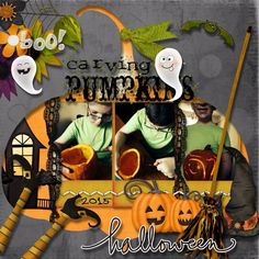 James carving his pumpkin