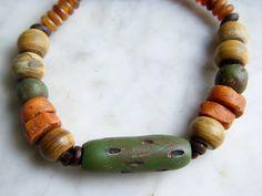 Green Bracelet, Earthy Bracelet, Bone Bracelet, Clay Seed Pod Beaded Bracelet, brown leather, B551