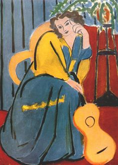 Woman in Yellow and Blue with Guitar by Henri Matisse, 1939