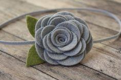 Light Grey Wool Felt Rose Headband Newborn by SnuggleBugsBowtique