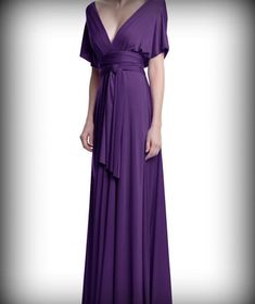Tailored to Size & LengthConvertible/Infinity Dress - floor length with long straps in plum purple color wrap dress
