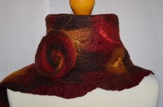 Red, brown and tan felted merino wool scarf wrap. Handmade. by jaracedesigns on Etsy