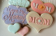 by Kristie's Treatery, aka the Goddess of Lettering Mother's Day Cookies, Fancy Cookies, Iced Cookies, Easter Cookies, Royal Icing Cookies, Holiday Cookies, Sugar Cookies, Diy Mothers Day Gifts, Happy Mothers Day