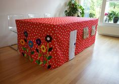 Indoor Tent For Kids, Indoor Tents, Sewing For Kids, Diy For Kids, Diy Projects To Try, Sewing Projects, Card Table Playhouse, Baby Staff, Table Tents