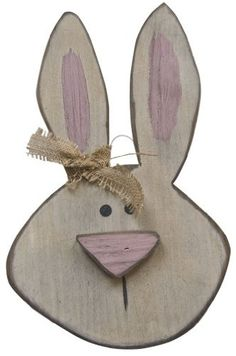 prim wooden easter rabbit with grapevine ears | Charming rustic wooden bunny plaque.