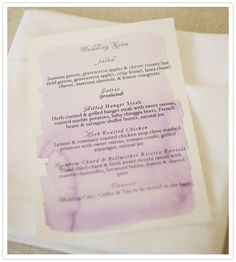 DIY menus    Water colored and printed at home