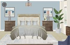View this Coastal, Transitional Bedroom design from Havenly interior designer Alissa. Shop products and even get started designing your own space. Decor, Showcase Design, Furniture Design, Furniture, Transitional Bedroom Design, Home Decor, Coastal Interiors Design, Room Design, Coastal Bedroom